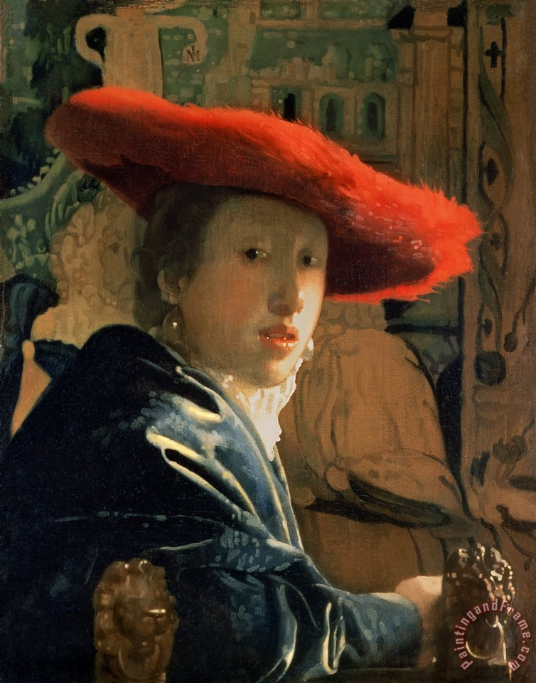 Jan Vermeer Girl with a Red Hat Art Print