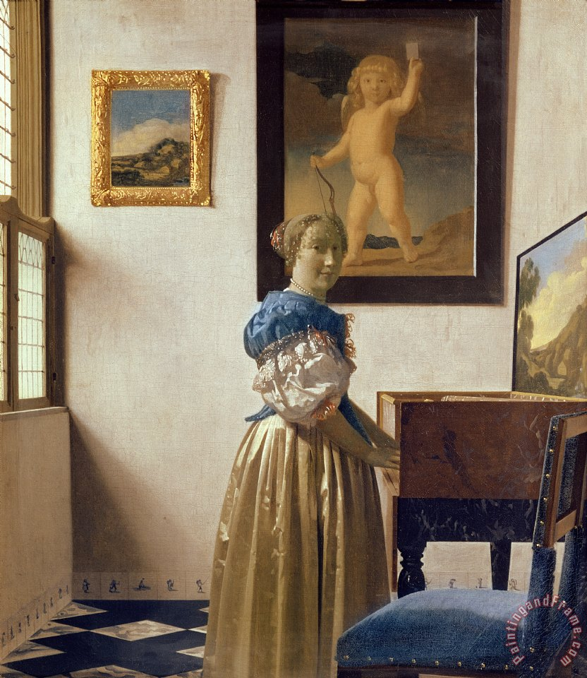 Jan Vermeer Lady standing at the Virginal Art Print