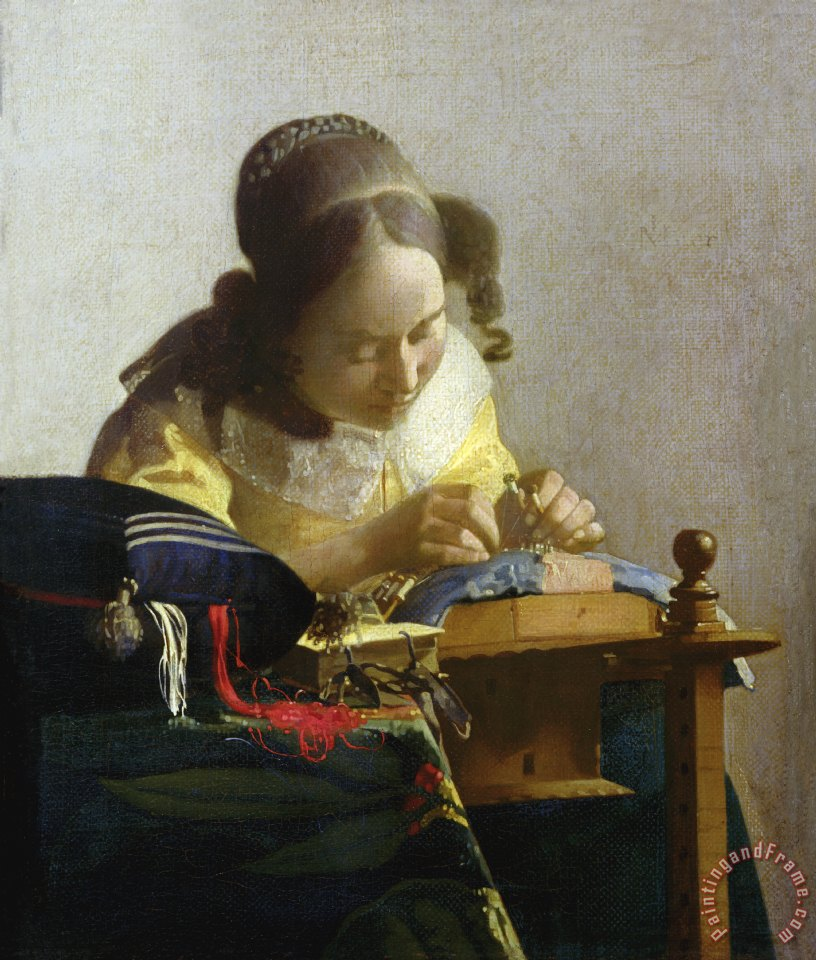 The Lacemaker painting - Jan Vermeer The Lacemaker Art Print