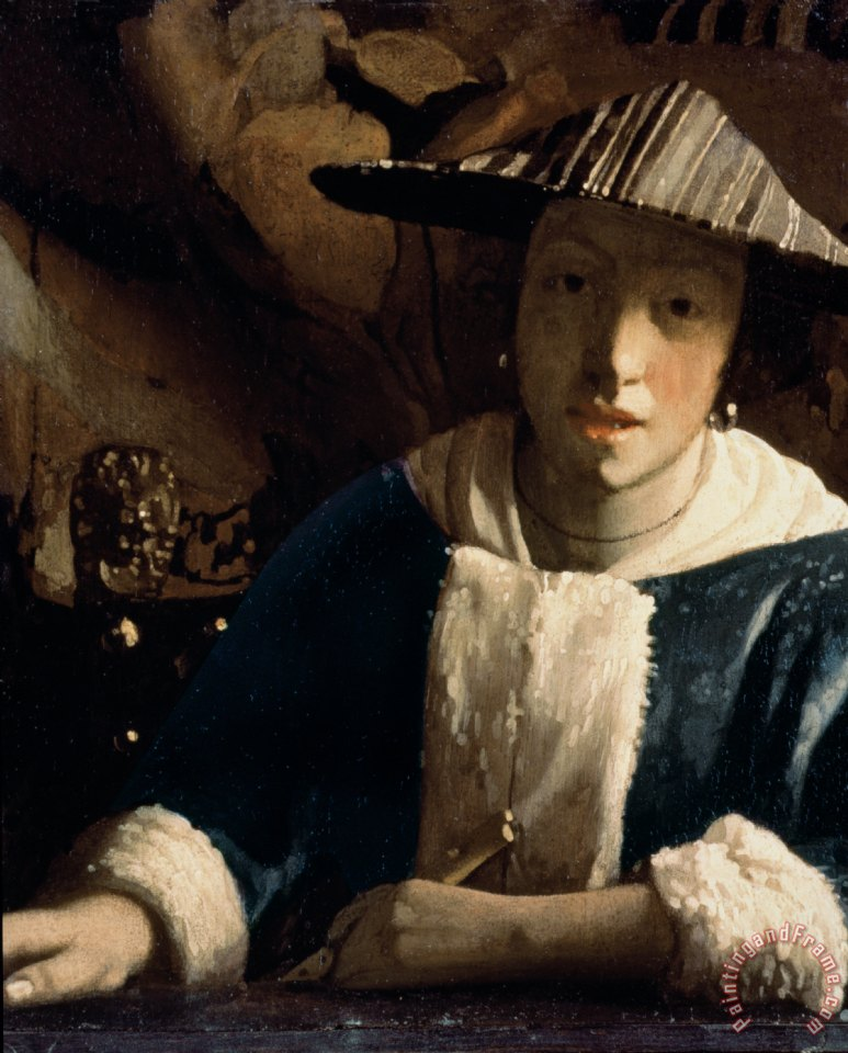 Young Girl with a Flute painting - Jan Vermeer Young Girl with a Flute Art Print