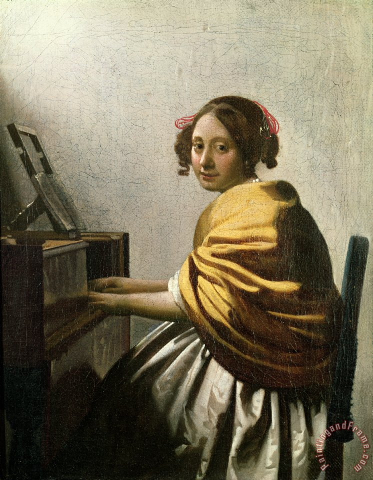 Young Woman at a Virginal painting - Jan Vermeer Young Woman at a Virginal Art Print
