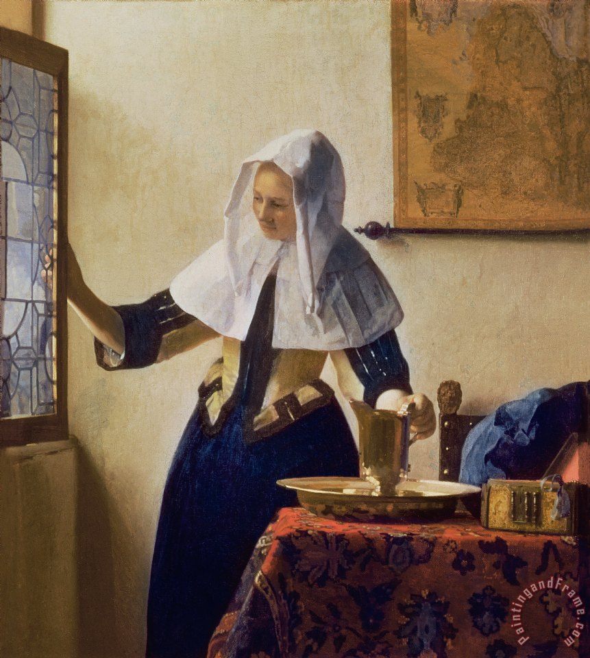 Jan Vermeer Young Woman with a Water Jug Art Print