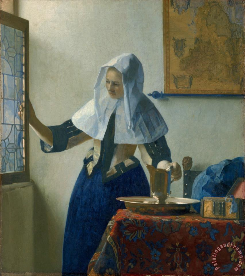 Jan Vermeer Young Woman with a Water Pitcher Art Print