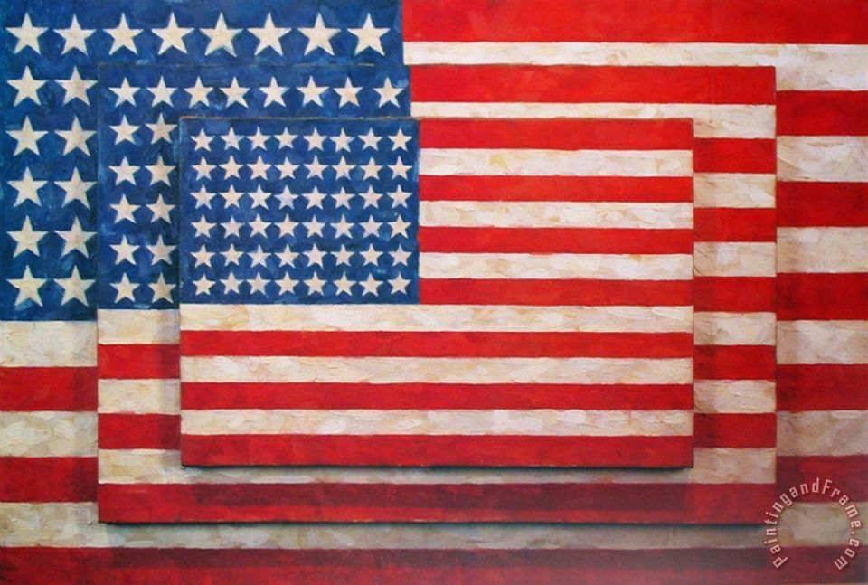 jasper johns Three Flags Art Print
