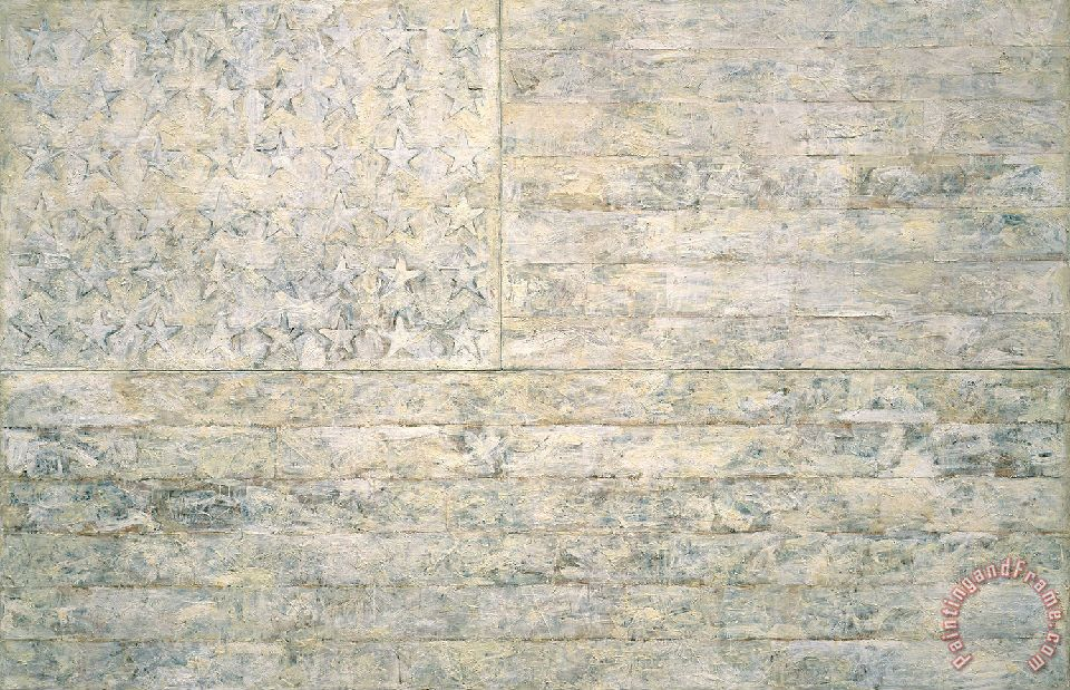 Jasper Johns White Flags Art Painting