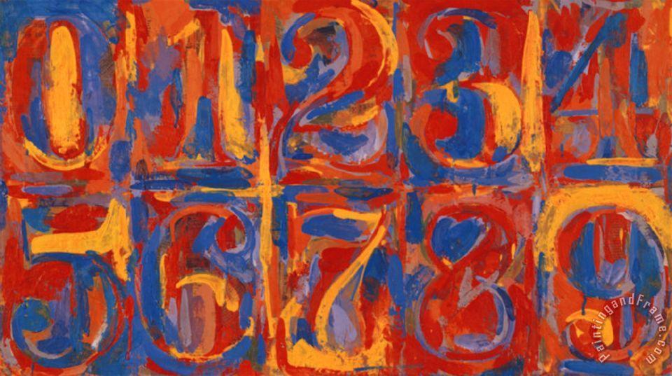 Zero Nine painting - jasper johns Zero Nine Art PrintJasper Johns Numbers White