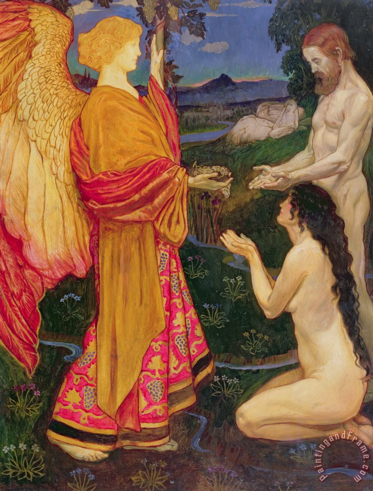 The Angel offering the fruits of the Garden of Eden to Adam and Eve painting - JBL Shaw The Angel offering the fruits of the Garden of Eden to Adam and Eve Art Print