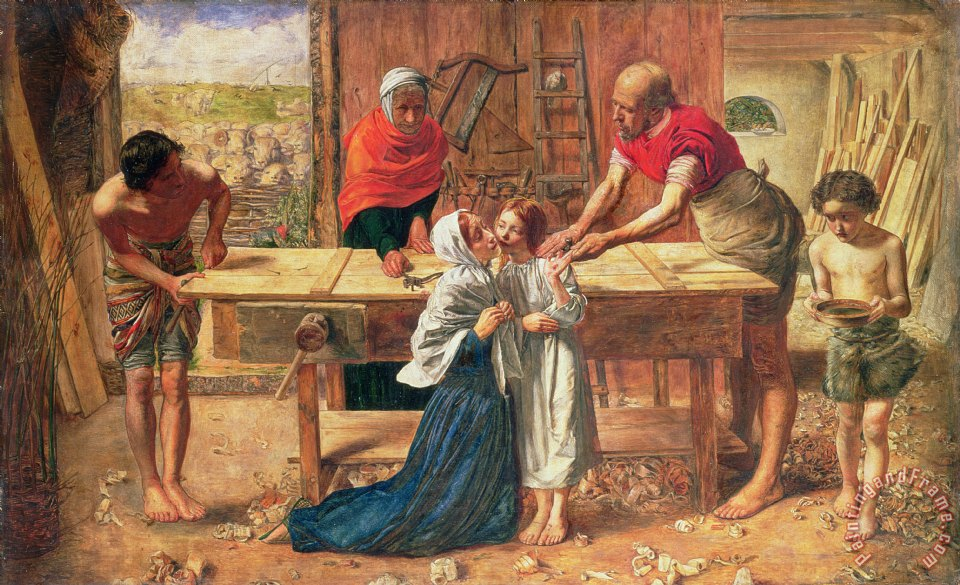 JE Millais and Rebecca Solomon Christ in the House of His Parents Art Painting