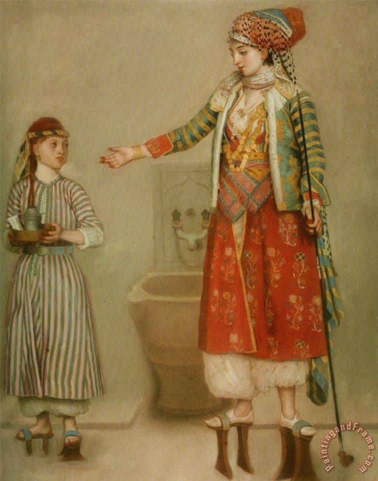 Jean-Etienne Liotard A Lady in Turkish Costume with Her Servant at The Hammam Art Print