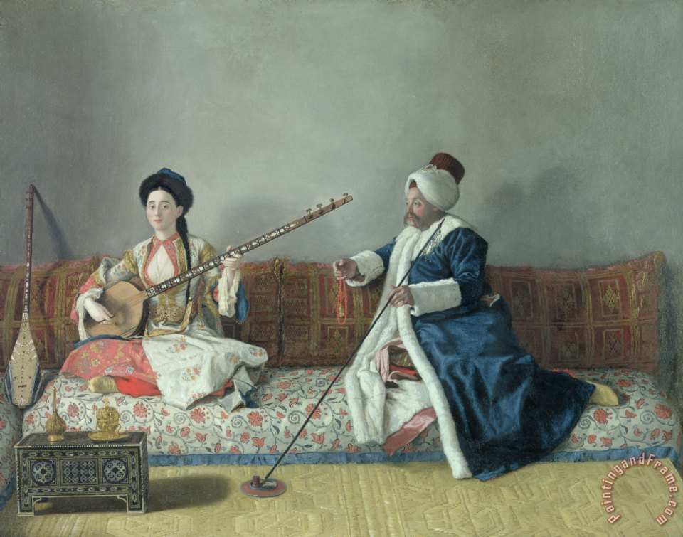 Monsieur Levett and Mademoiselle Helene Glavany in Turkish Costumes painting - Jean-Etienne Liotard Monsieur Levett and Mademoiselle Helene Glavany in Turkish Costumes Art Print