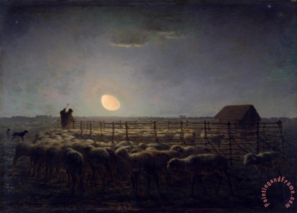 The Sheepfold, Moonlight painting - Jean-Francois Millet The Sheepfold, Moonlight Art Print