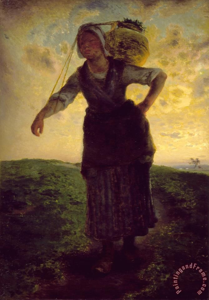 Jean-Francois Millet A Norman Milkmaid at Greville Art Print