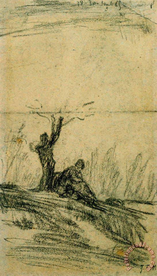 Figure Seated Under a Tree painting - Jean-Francois Millet Figure Seated Under a Tree Art Print