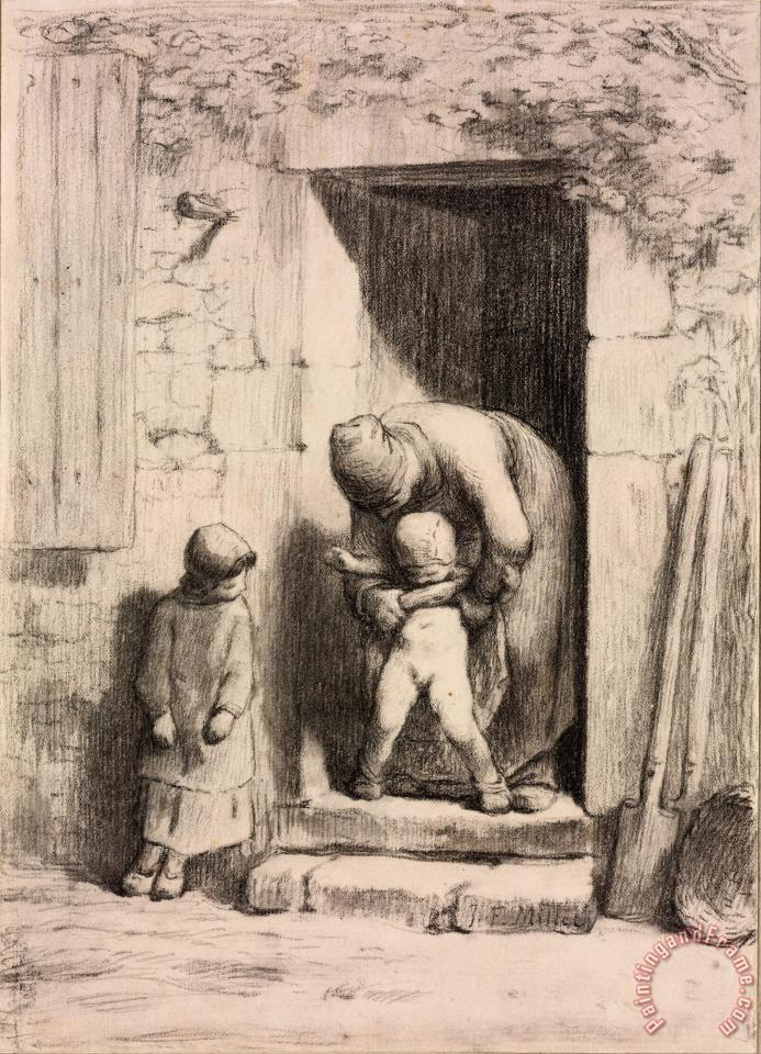 Maternal Solicitude painting - Jean-Francois Millet Maternal Solicitude Art Print
