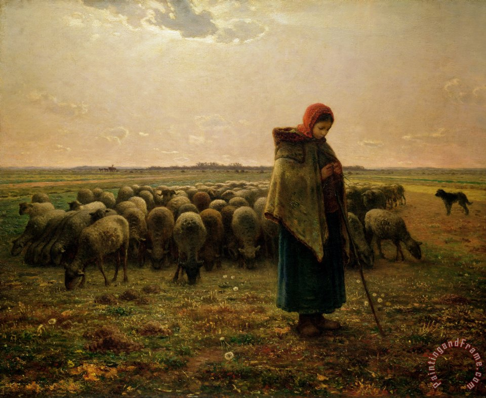 Shepherdess with her Flock painting - Jean-Francois Millet Shepherdess with her Flock Art Print