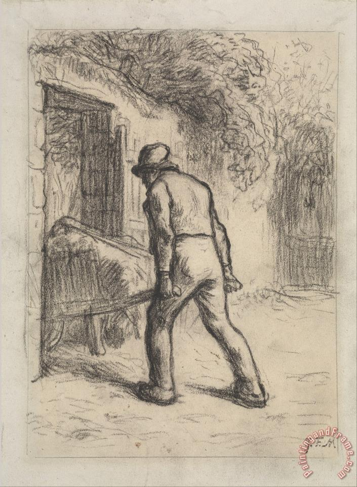 Jean-Francois Millet Study for Man with a Wheelbarrow Art Print