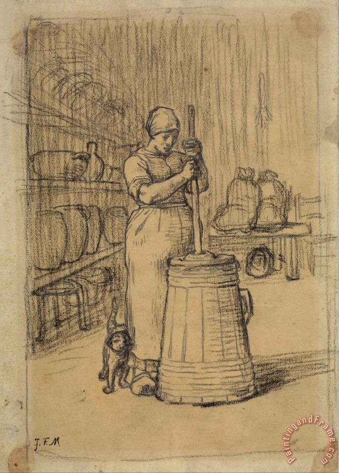 Jean-Francois Millet Study for Woman Churning Butter Art Print