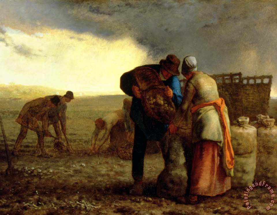 Jean-Francois Millet The Potato Harvest Art Print