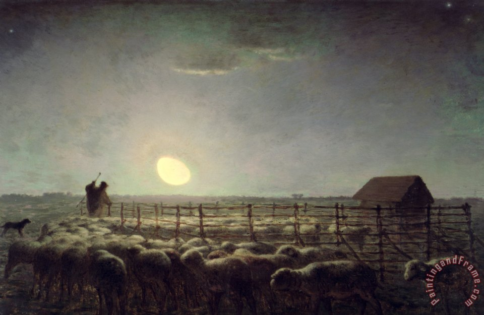 Jean Francois Millet The Sheepfold Moonlight Painting