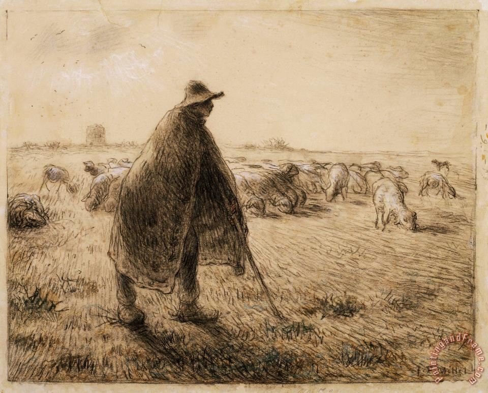 Jean-Francois Millet The Shepherd Art Print