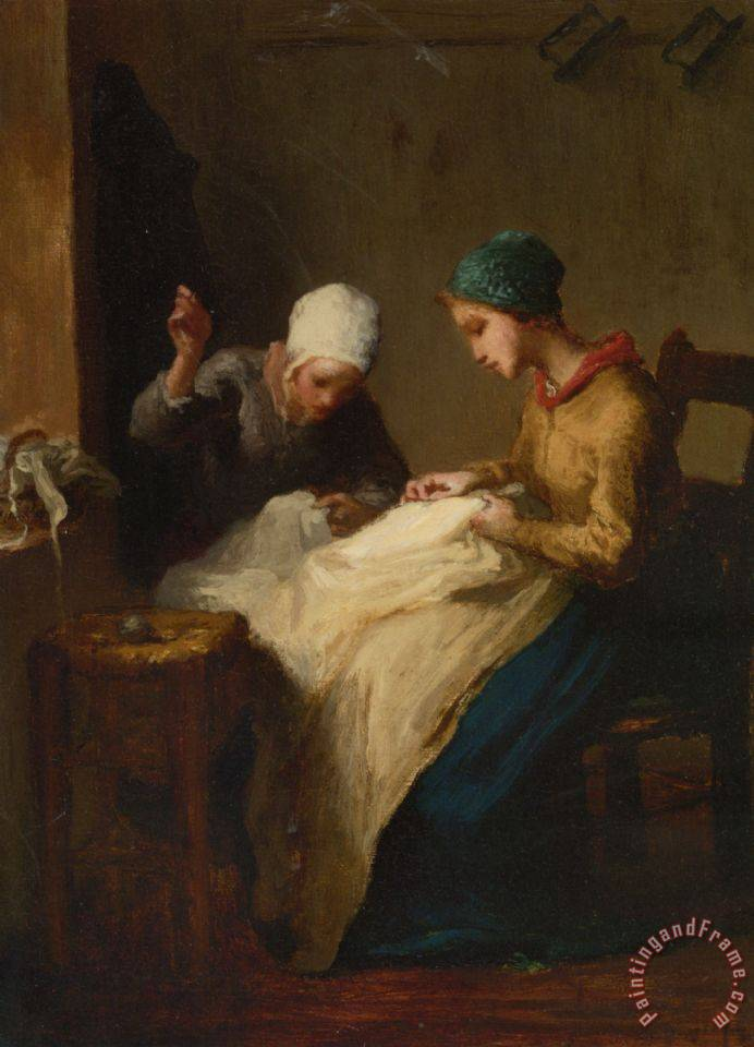 The Young Seamstress painting - Jean-Francois Millet The Young Seamstress Art Print
