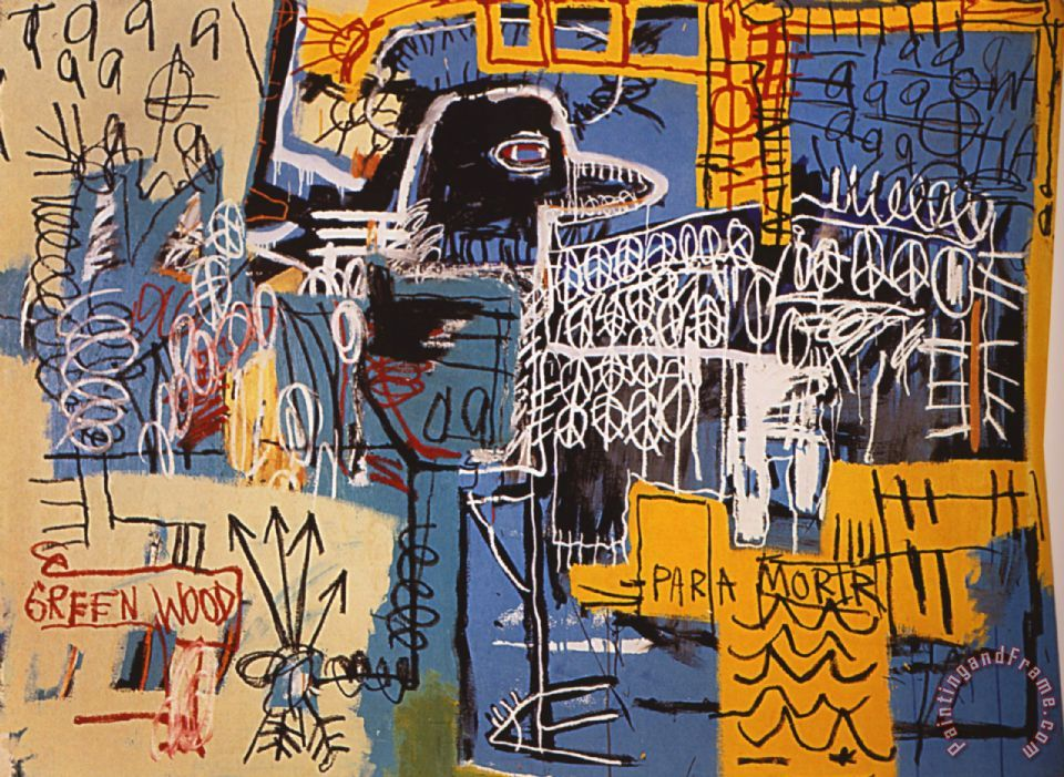 Jean Michel Basquiat Bird On Money Painting Bird On