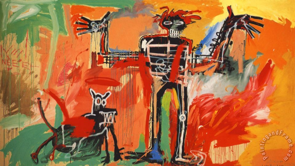 Boy And Dog in a Johnnypump painting - Jean-michel Basquiat Boy And Dog in a Johnnypump Art Print