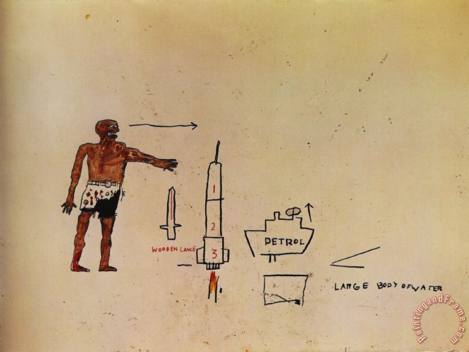 Large Body of Water painting - Jean-michel Basquiat Large Body of Water Art Print