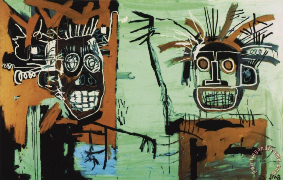 Two Heads on Gold painting - Jean-michel Basquiat Two Heads on Gold Art Print
