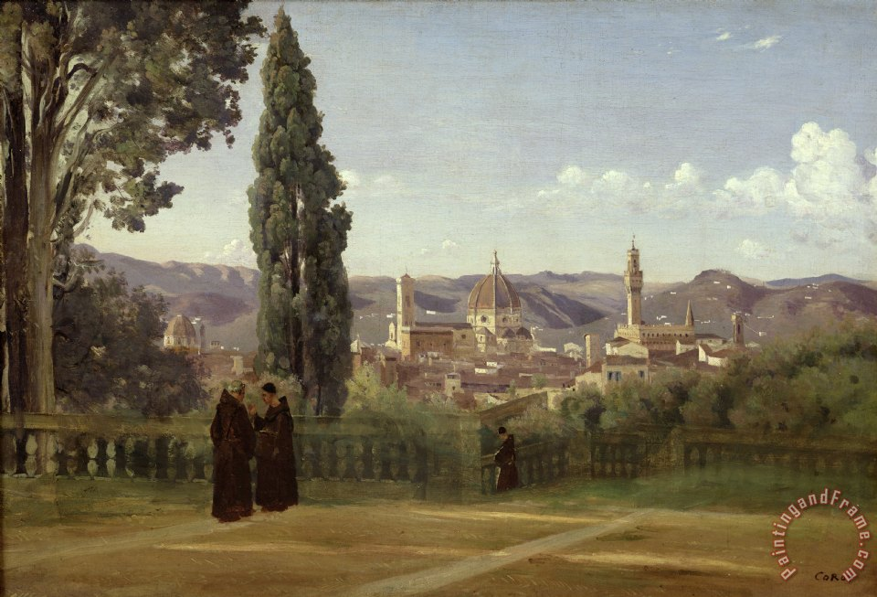 View of Florence from the Boboli Gardens painting - Jean Baptiste Camille Corot View of Florence from the Boboli Gardens Art Print
