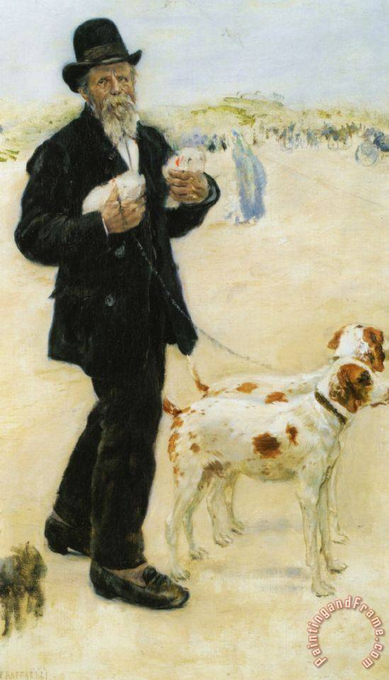 Man Walking Dogs painting - Jean Francois Raffaelli Man Walking Dogs Art Print