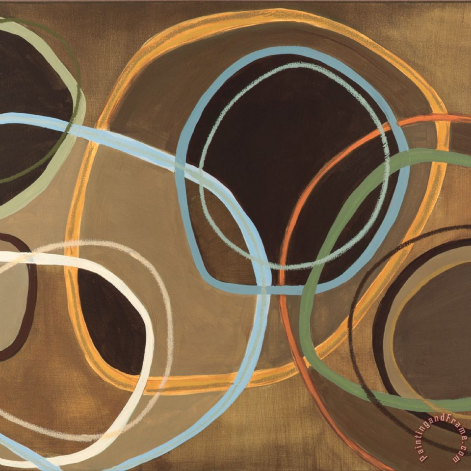 Jeni Lee 14 Friday Square Ii Brown Circle Abstract Painting 14 Friday Square Ii Brown Circle Abstract Print For Sale