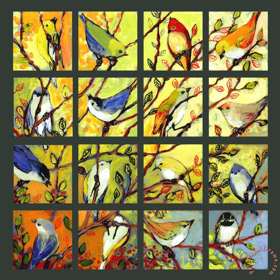 16 Birds painting - Jennifer Lommers 16 Birds Art Print