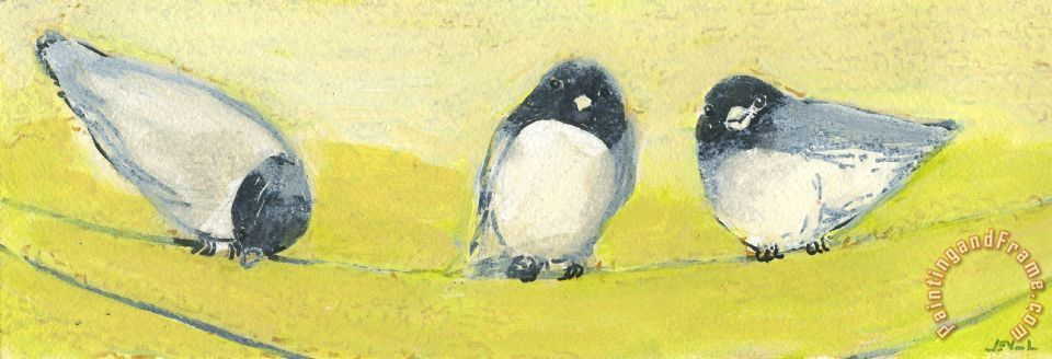 Birds on a Wire painting - Jennifer Lommers Birds on a Wire Art Print
