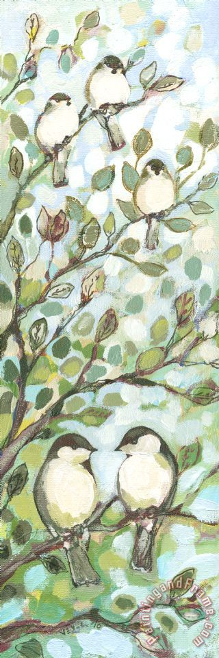 Mo's Chickadees painting - Jennifer Lommers Mo's Chickadees Art Print
