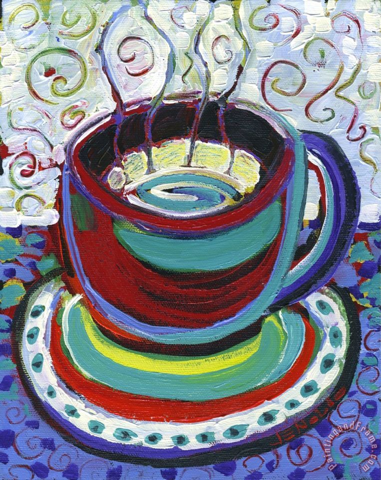 Steaming Coffee painting - Jennifer Lommers Steaming Coffee Art Print