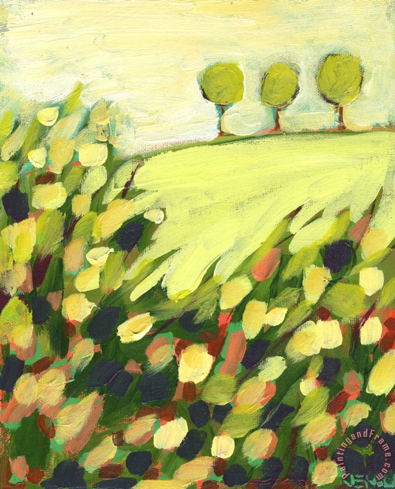 Three Trees on a Hill painting - Jennifer Lommers Three Trees on a Hill Art Print