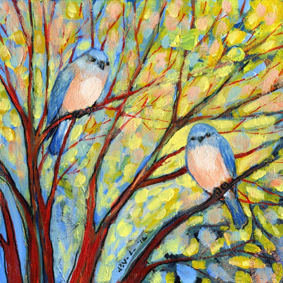 Jennifer Lommers Two Bluebirds Art Print