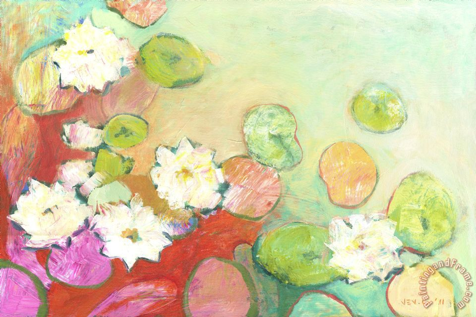 Waterlillies at Dusk No 2 painting - Jennifer Lommers Waterlillies at Dusk No 2 Art Print