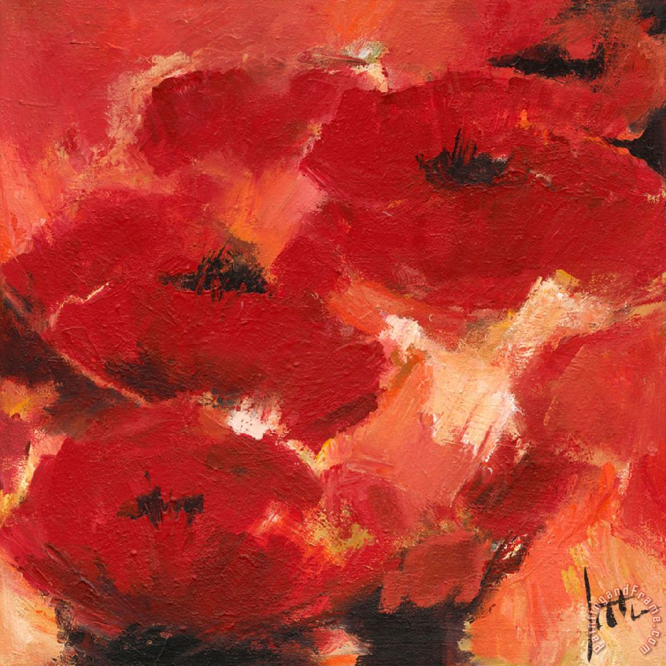 Jettie roseboom abstract flowers ii painting abstract for Abstract posters for sale