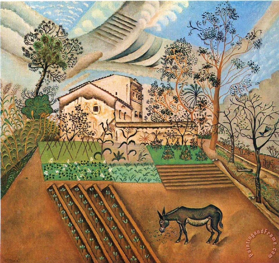 The Vegetable Garden with Donkey painting - Joan Miro The Vegetable Garden with Donkey Art Print