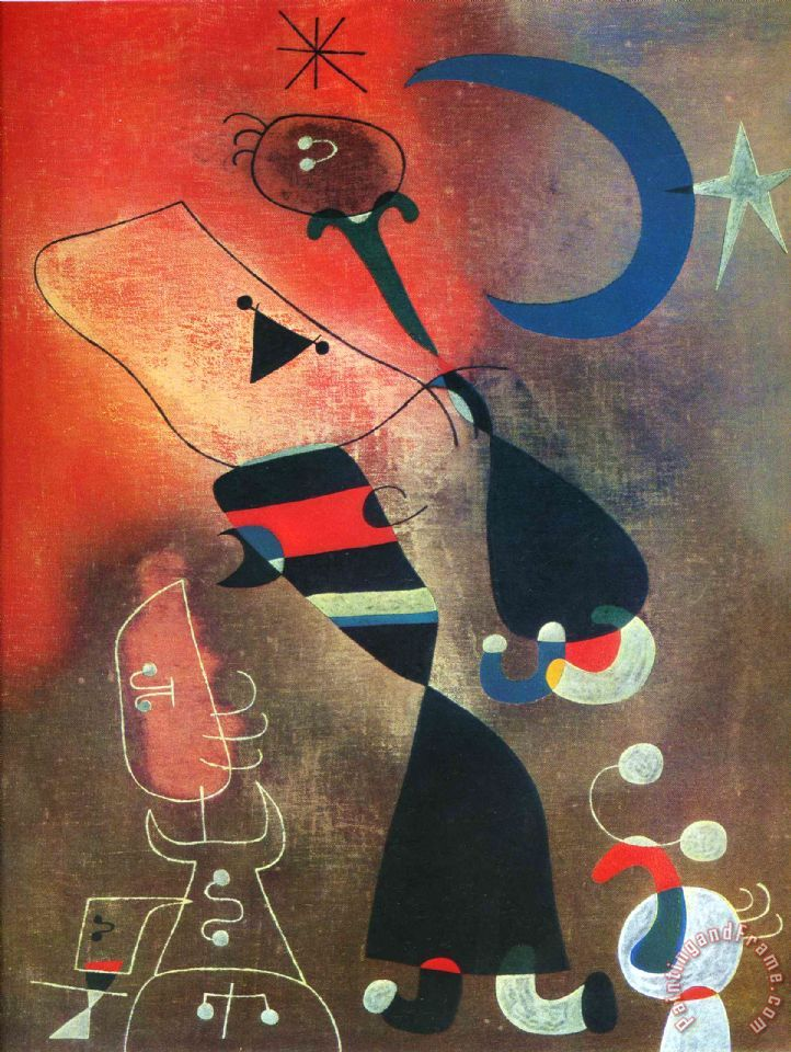 Joan Miro Woman And Bird in The Moonlight Art Print