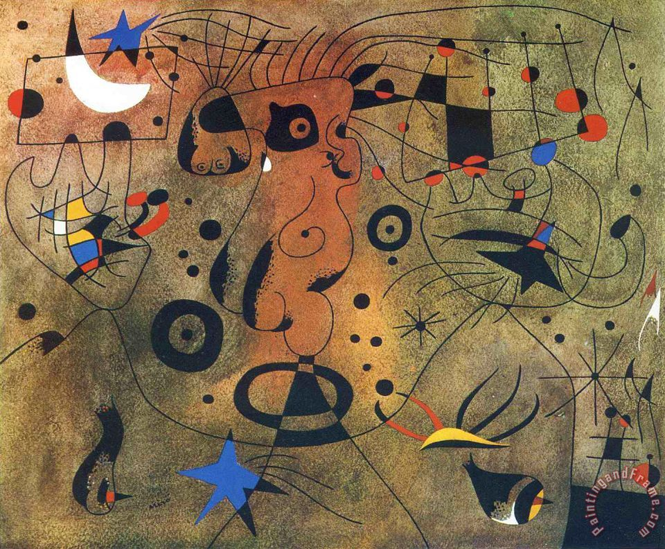 Woman with Blond Armpit Combing Her Hair by The Light of The Stars painting - Joan Miro Woman with Blond Armpit Combing Her Hair by The Light of The Stars Art Print