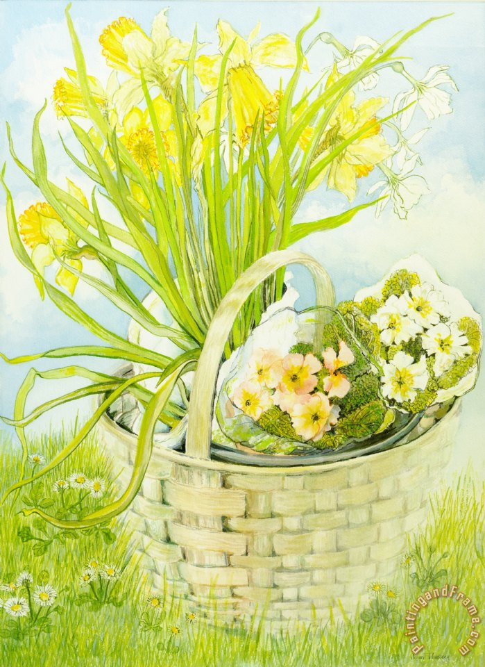 Daffodils And Primroses In A Basket painting - Joan Thewsey Daffodils And Primroses In A Basket Art Print