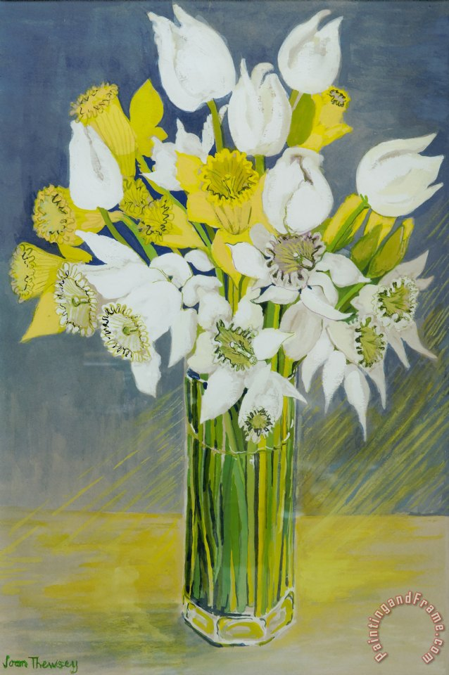Joan Thewsey Daffodils And White Tulips In An Octagonal Glass Vase
