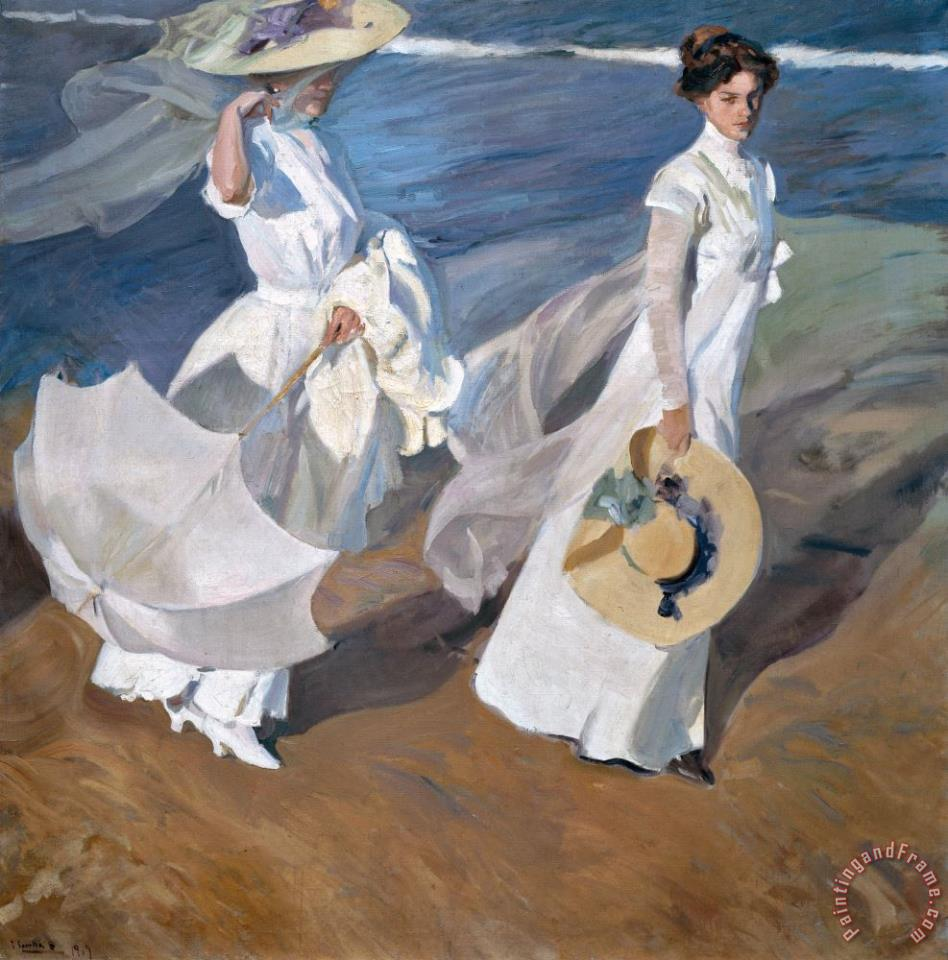 Joaquin Sorolla y Bastida Strolling along the Seashore Art Print