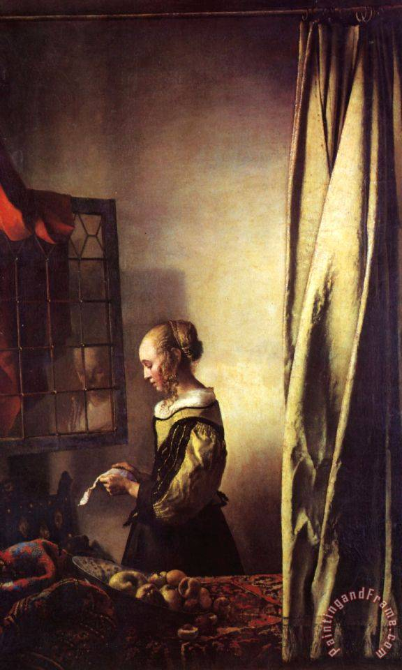 Girl Reading a Letter at an Open Window painting - Johannes Vermeer Girl Reading a Letter at an Open Window Art Print
