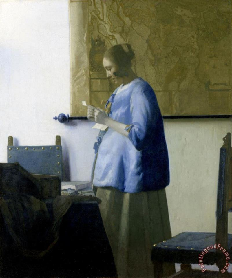 Woman Reading a Letter painting - Johannes Vermeer Woman Reading a Letter Art Print