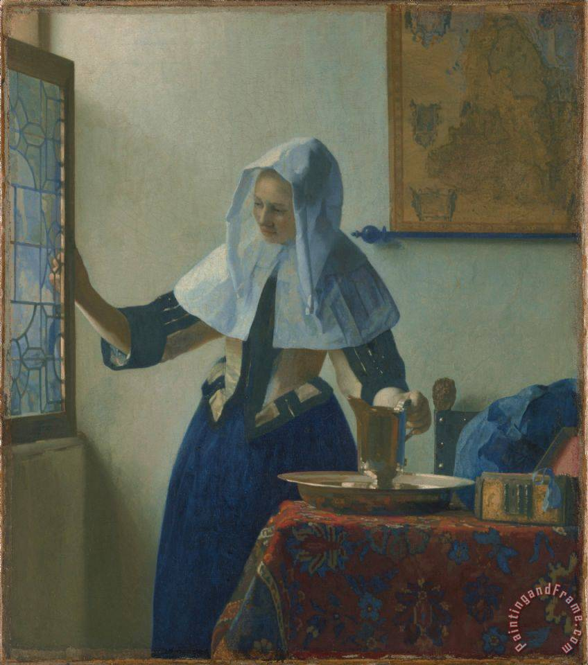 Young Woman with a Water Jug painting - Johannes Vermeer Young Woman with a Water Jug Art Print