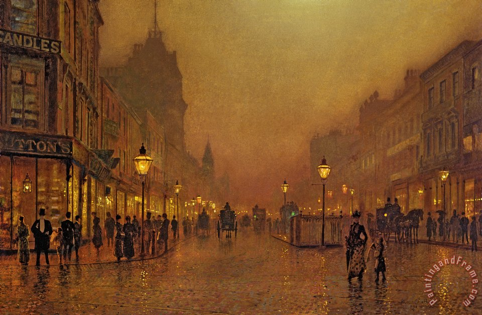 A Street at Night painting - John Atkinson Grimshaw A Street at Night Art Print